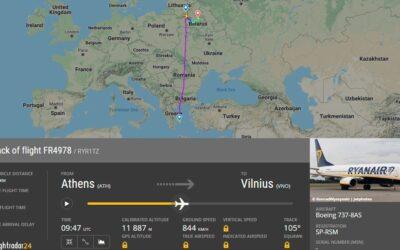 Letadlo Ryanairu bylo donuceno přistát v Minsku, byl zatčen cestující