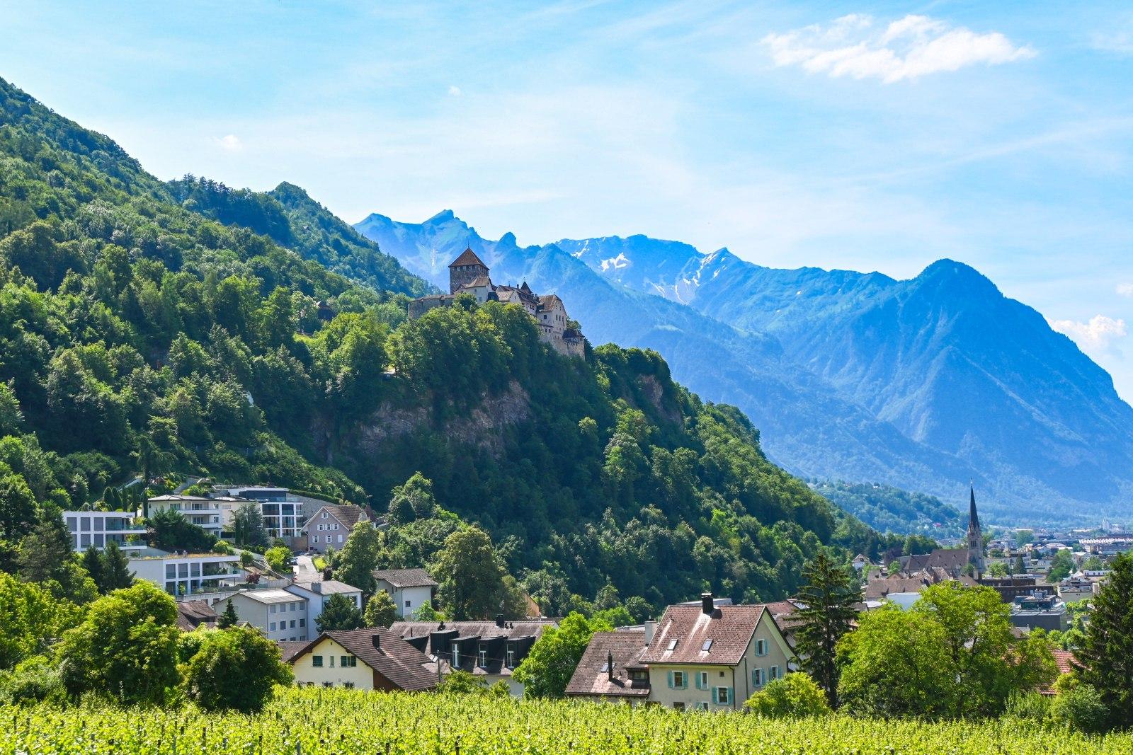 Výhled na hrad ve Vaduzu